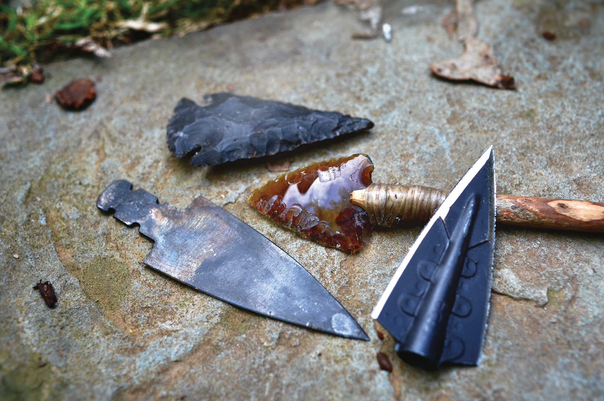 Arrowheads are modern glue-on broad-head, trade blank metal point, a