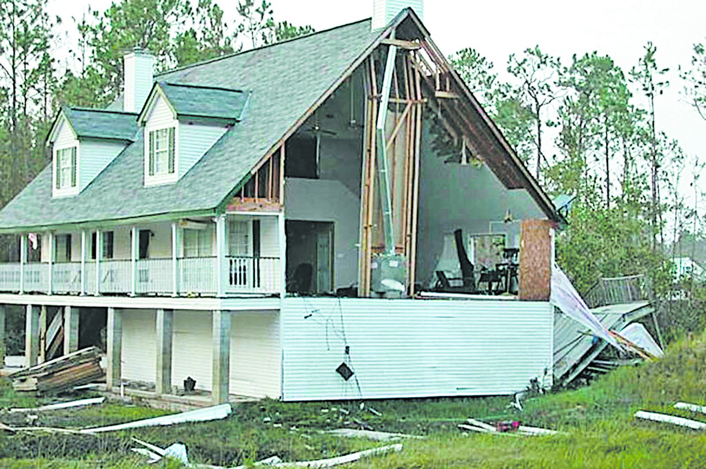 In single-family houses, the gable end of the roof is usually the weakest link. (Image courtesy of Simpson Strong-Tie Company.)