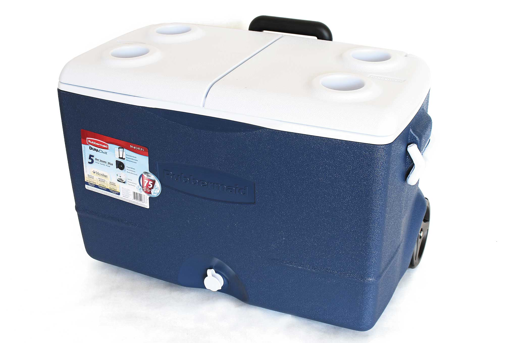 Rubbermaid durachill 5 day wheeled cooler recoil offgrid for Motor cooler on wheels