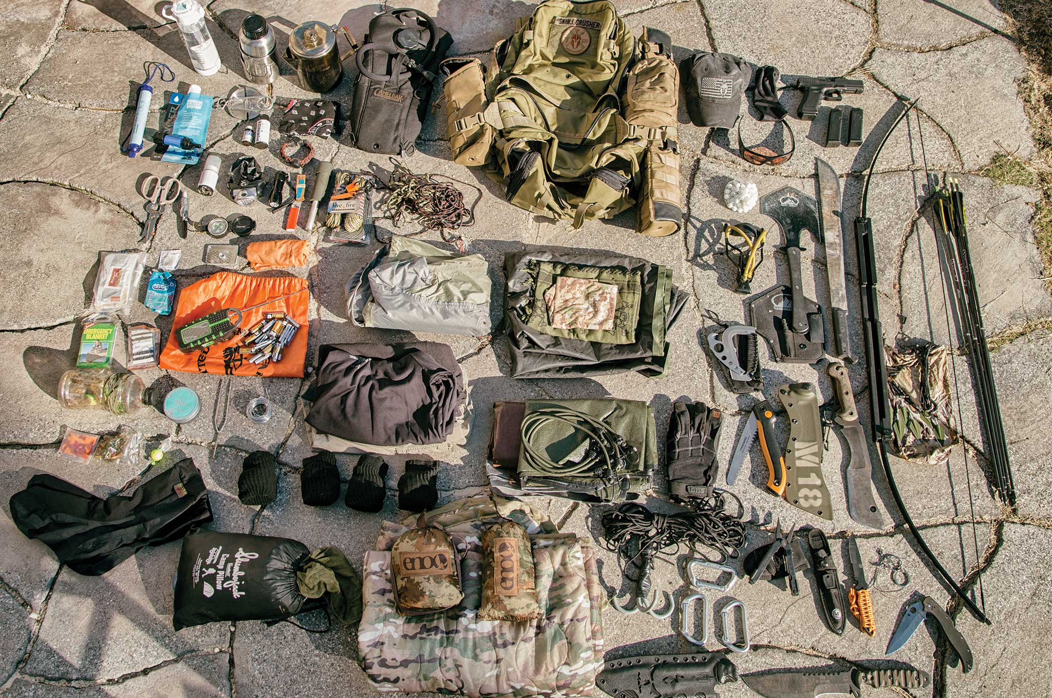 Contrary to a bug out bag, the contents of Snyder's long-term survival nomad pack have enough supplies and gear to get him through dire situations that last more than 72 hours.