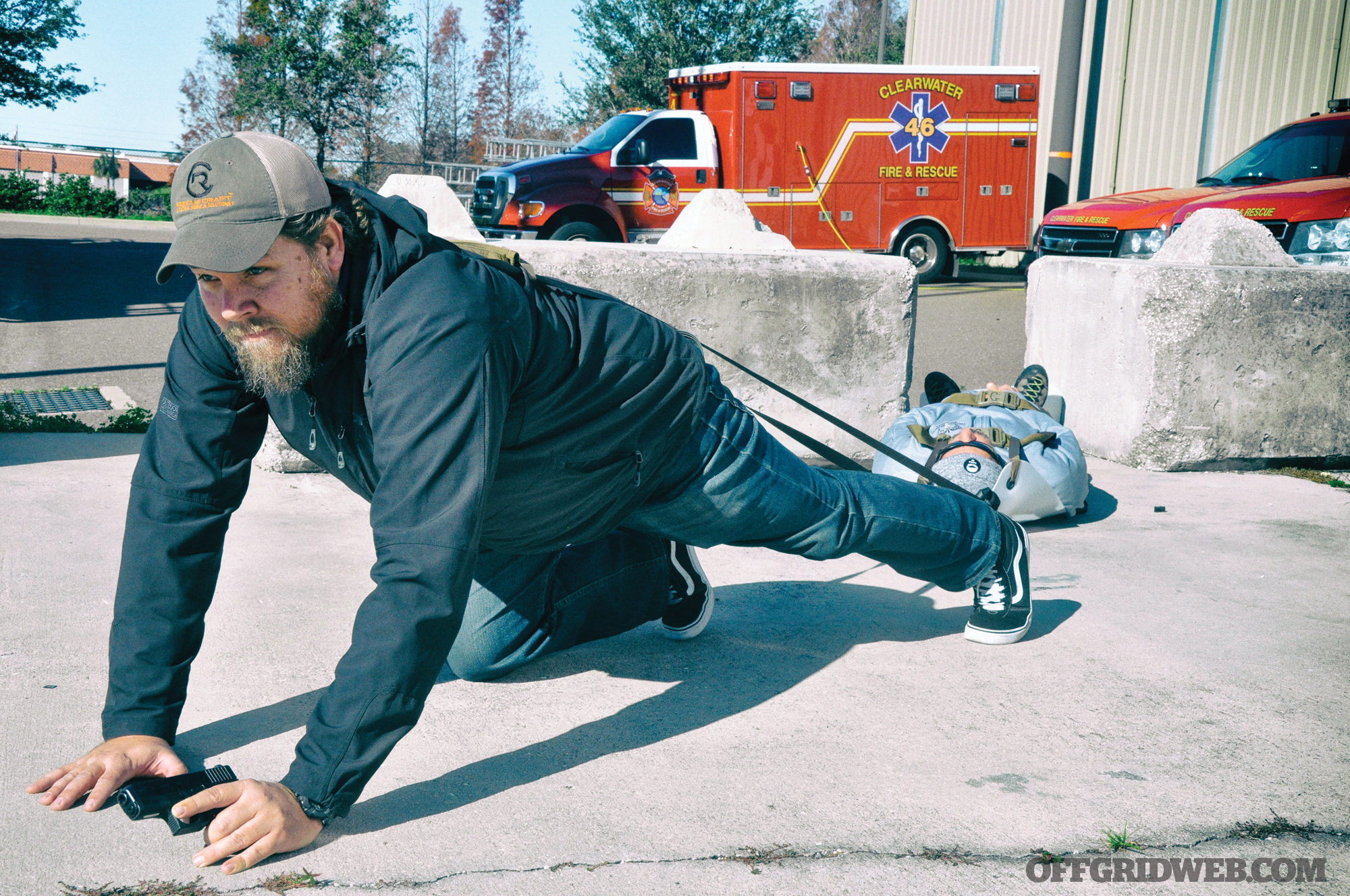 "It can be used to carry a casualty in a low ""bear-crawl"" position, minimizing exposure by maintaining a low profile when needed."